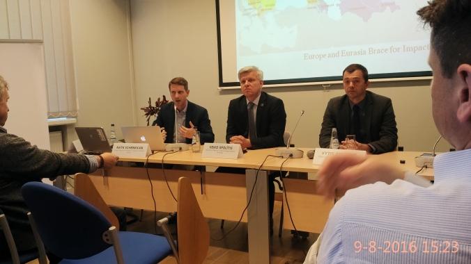 Nate Shenkkan(Freedom House,Latvian dept.), Veiko Spolitis (Saeima Member), Vytis Jurkonis (Freedom House, Lithuania dept.).jpg